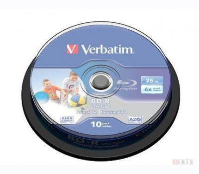 Verbatim BD-R Blu-Ray 25GB 6x Speed, Wide Printable Cakebox 10-p